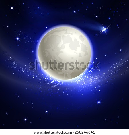 moon in the starry night sky - stock vector
