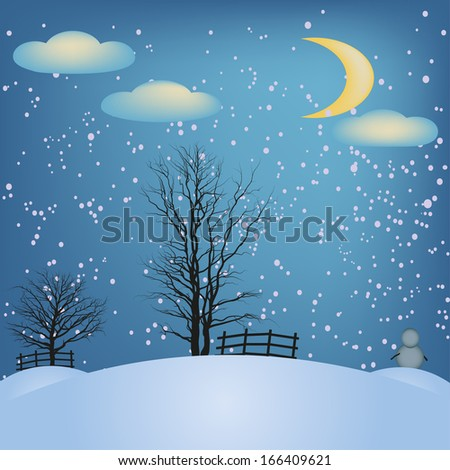 Moon night, trees, snow, snowman and Christmas