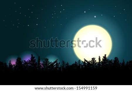 moon on a dark sky in the trees - stock vector