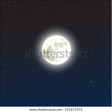 Moon on a starry dark blue night sky vector - stock vector