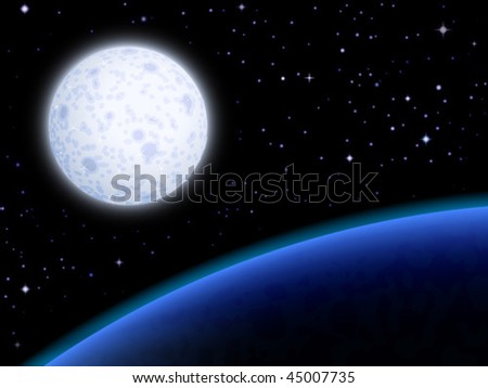 Moon orbiting a blue planet