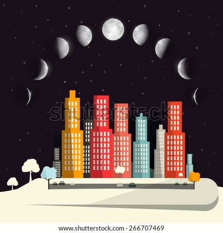 Moon Phases above Night City Flat Design Abstract Vector Illustration - stock vector