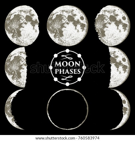 Moon Phases Planets Solar System Astrology Stock Vector ...