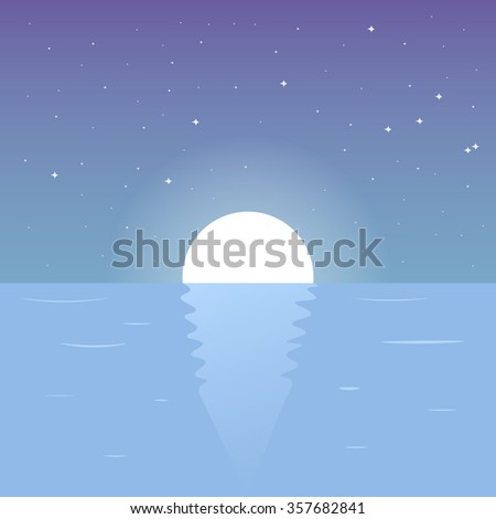 Moon Reflecting In A Sea. Night Background On Nature. Night Lake. Night Sky. Vector Illustration - stock vector