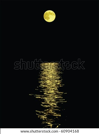 moon reflection over water against black background - stock vector
