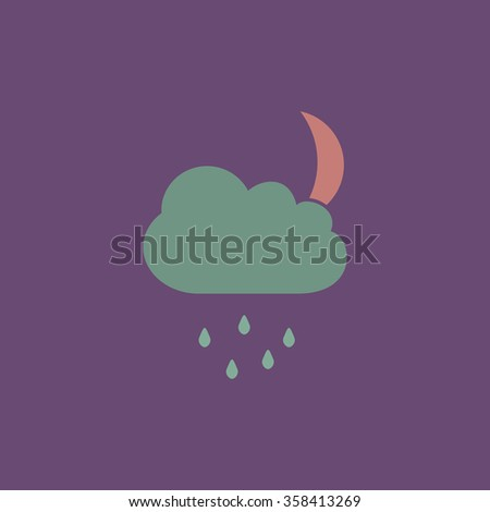 Moon Retro dim color vector flat icon - stock vector