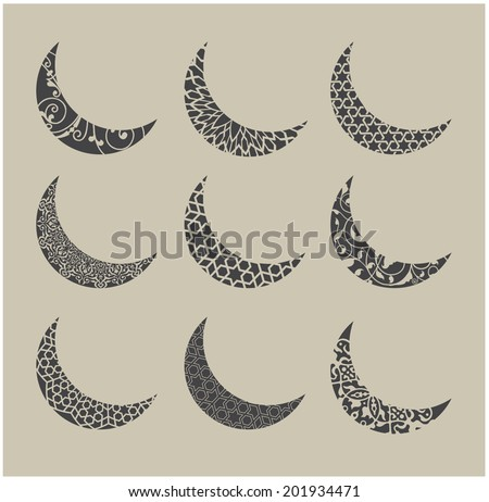 Moon shape with an ornamental design and styles - vector graphic - stock vector