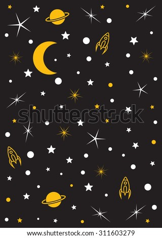 Moon, stars, planets, space vector background - stock vector