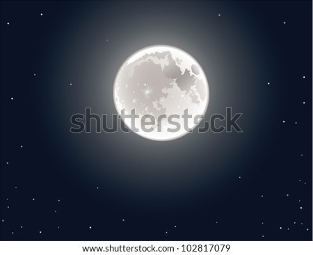 Moon. The vector illustration of the moon in clear night sky. - stock vector