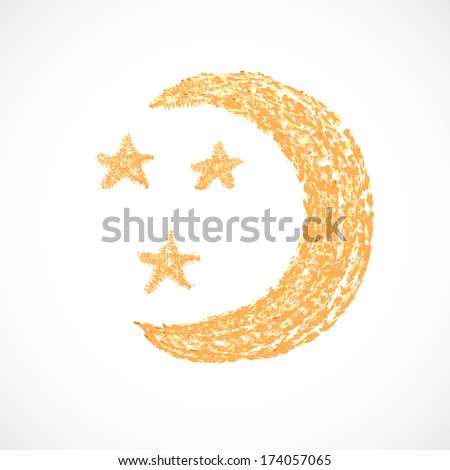 Moon, weather icon. Moon cartoon isolated on a white background. Vector illustration/ EPS 10 - stock vector