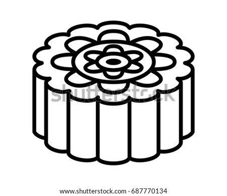 Mooncake moon cake mid autumn festival line stock vector for Moon festival coloring pages