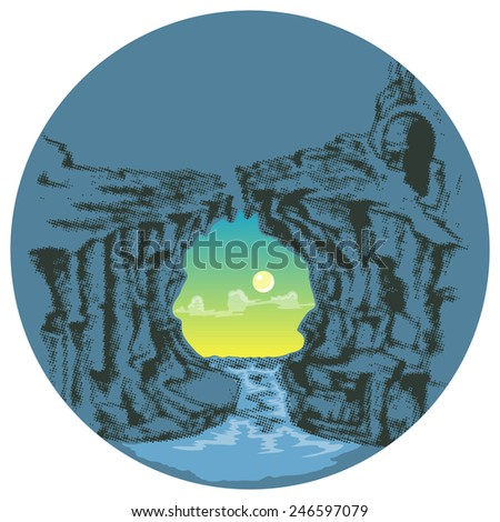 moonlight under broken bridge isolated - stock vector