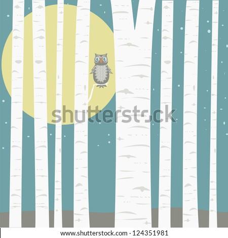 Moonlit Aspens - stock vector