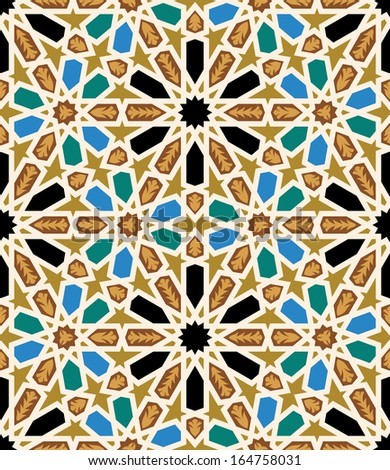 Moorish Fez Seamless Pattern. Traditional morocco arabic Islamic background. - stock vector