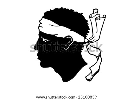 Moorish head with bandanna National symbol of the Island of Corsica, France - stock vector