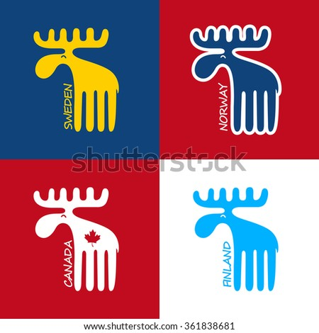 Moose as a symbol of Canada, Sweden, Finland and Norway - stock vector