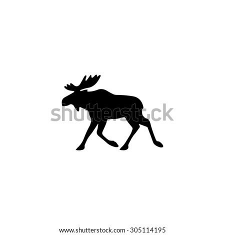 Moose. Black simple vector icon - stock vector