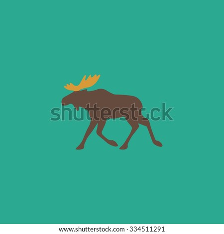 Moose. Colorful vector icon. Simple retro color modern illustration pictogram. Collection concept symbol for infographic project and logo - stock vector