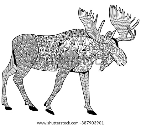 Moose Coloring Page For Adults Zen Tangle Design For Coloring Printing