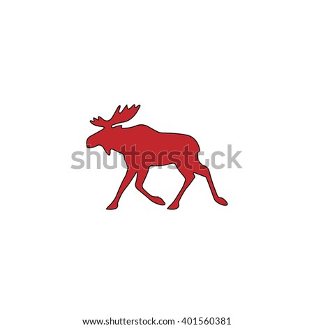 Moose. Red flat simple modern illustration icon with stroke. Collection concept vector pictogram for infographic project and logo