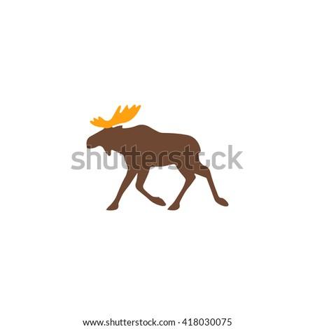 Moose Simple flat vector icon - stock vector