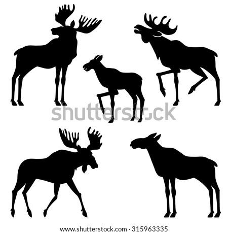 moose vector silhouette - stock vector