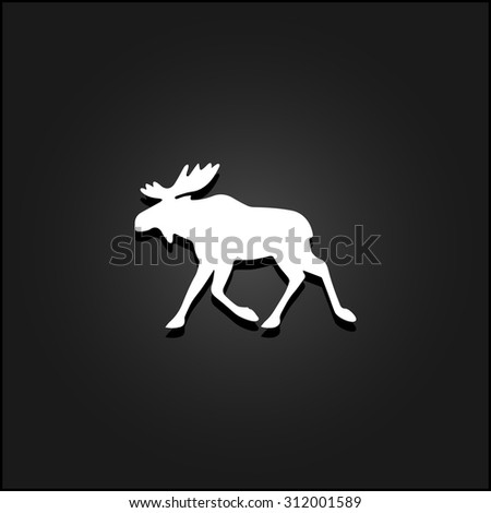 Moose. White flat simple vector icon with shadow on a black background - stock vector