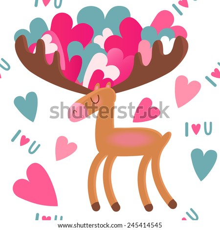 Moose with hearts - stock vector