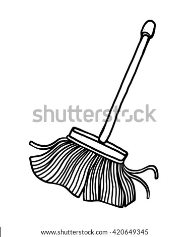 mop / cartoon vector and illustration, black and white, hand drawn, sketch style, isolated on white background. - stock vector