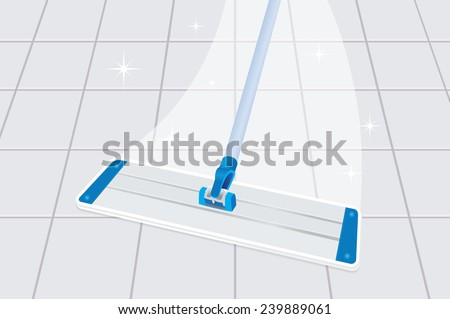 Mop cleaning dirty tiled floor to shiny  - stock vector