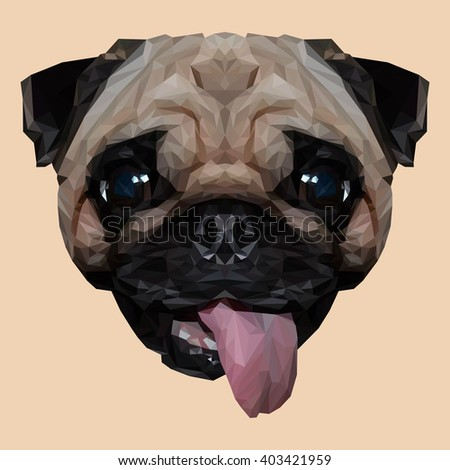 Mops Pug dog animal low poly design. Triangle vector illustration. - stock vector