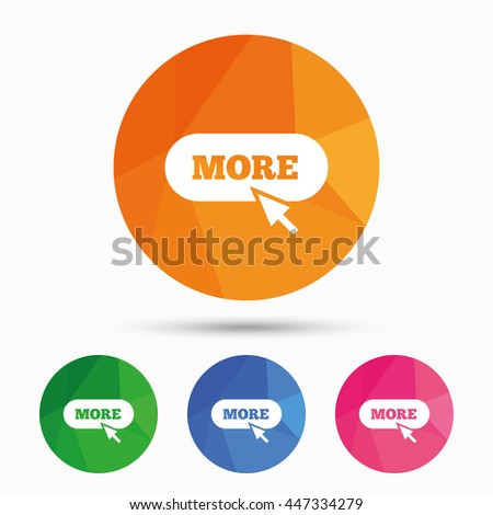 More with cursor pointer sign icon. Details symbol. Website navigation. Triangular low poly button with flat icon. Vector - stock vector