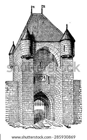 Moret Gate, thirteenth century, vintage engraved illustration. Industrial encyclopedia E.-O. Lami - 1875. - stock vector