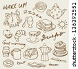 Morning breakfast doodle vector set - stock