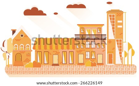 morning. City quiet, clean street - stock vector
