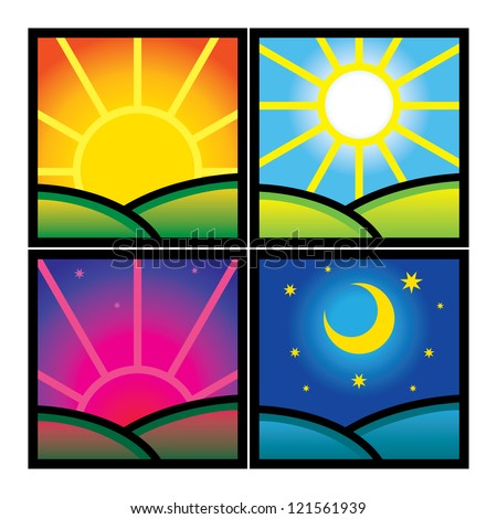 Morning Day Evening Night nature hour time sun moon - stock vector