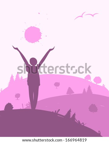 Morning exercises, landscape for your design - stock vector
