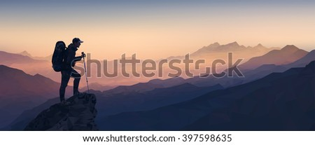 Morning mountain landscape with the silhouette of a climber. Low Poly - stock vector