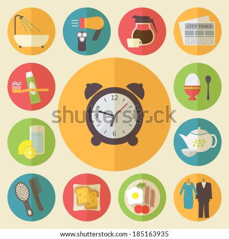 Morning time, morning occupation icons set. Flat design vector. - stock vector