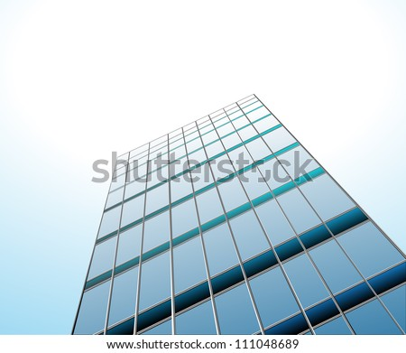 morning view to perspective glass building vector - stock vector