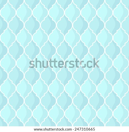 moroccan geometric seamless pattern in blue tones - stock vector