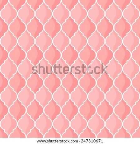 moroccan geometric seamless pattern in pink tones - stock vector