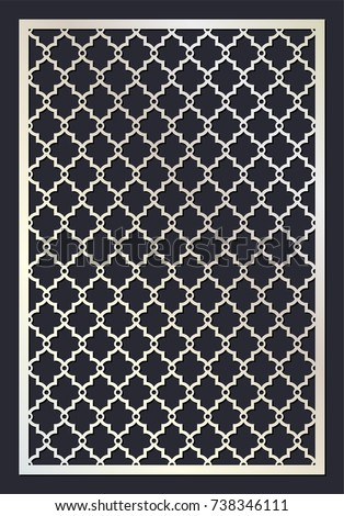 Moroccan Trellis Stencil Pattern Die Cut Card Laser Vector Panel Cutout