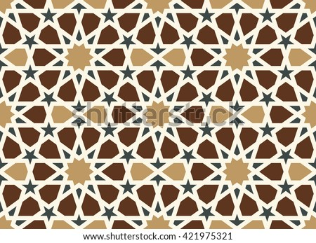 Morocco Arabic Pattern. Traditional Islamic Design Background. Brown, ocher, black, white colors - stock vector