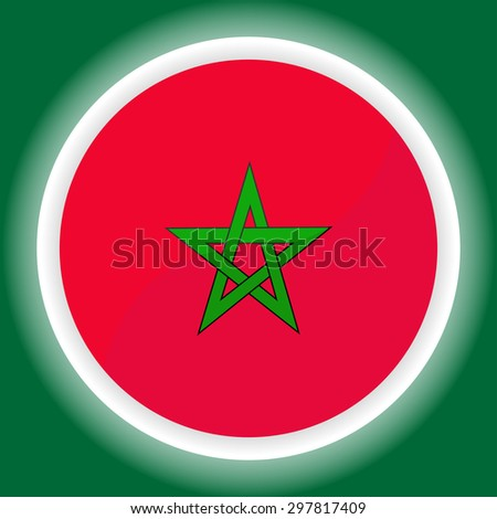Morocco flag button  on green  background - stock vector