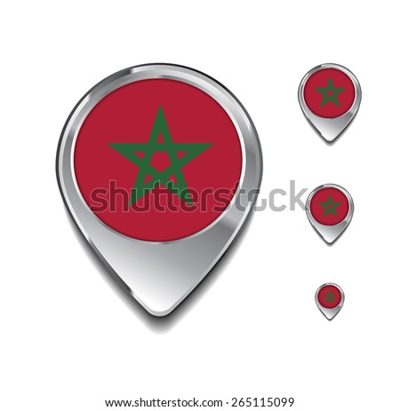 Morocco flag map pointer. 3d Map Pointer with flag glossy button style on gray background - stock vector
