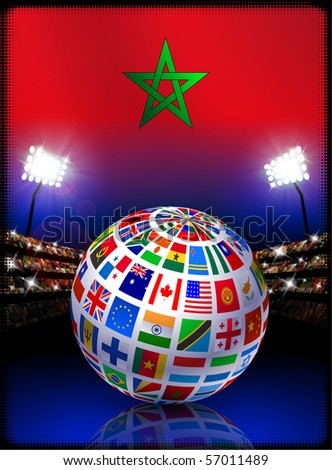 Morocco Flag with Globe on Stadium Background Original Illustration