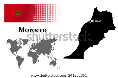 Morocco info graphic with flag , location in world map, Map and the capital ,Rabat, location.(EPS10 Separate part by part) - stock vector