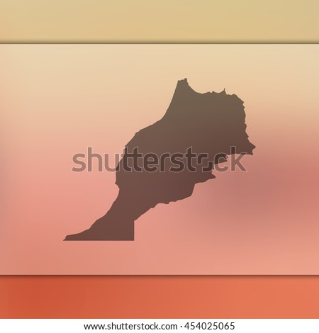 Morocco map on blurred background. Blurred background with silhouette of Morocco. Morocco. Morocco map. Blurred background. Silhouette. Morocco vector map. Morocco flag. Blur background. Vector map. - stock vector