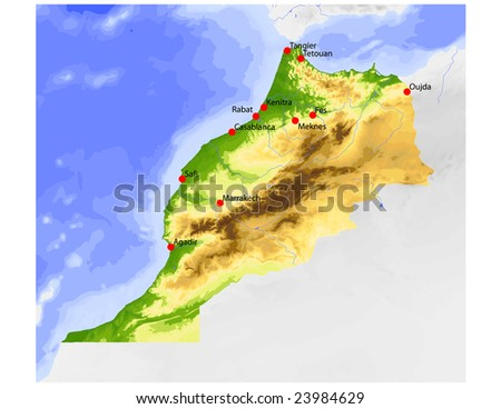 Morocco. Physical vector map, colored according to elevation, with rivers and selected cities. Surrounding territory greyed out. 61 named layers, fully editable. Data source: NASA - stock vector
